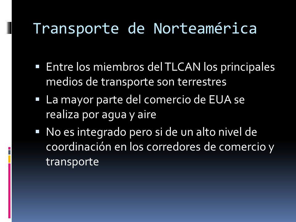 Transporte de Norteamérica Entre los miembros del TLCAN los principales medios de transporte son terrestres La mayor parte del comercio de EUA se realiza por agua y aire No es integrado pero si de un alto nivel de coordinación en los corredores de comercio y transporte