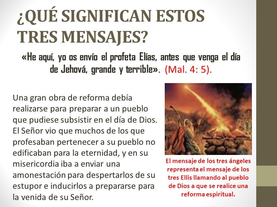 ¿QUÉ SIGNIFICAN ESTOS TRES MENSAJES? «He aquí, yo os envío el profeta Elías, antes que venga el día de Jehová, grande y terrible». (Mal. 4: 5). Una gr