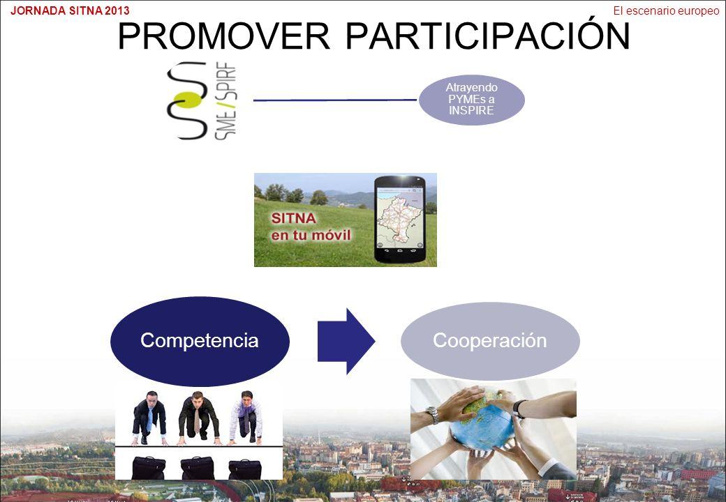 El escenario europeoJORNADA SITNA 2013 PROMOVER PARTICIPACIÓN Atrayendo PYMEs a INSPIRE Competencia Cooperación