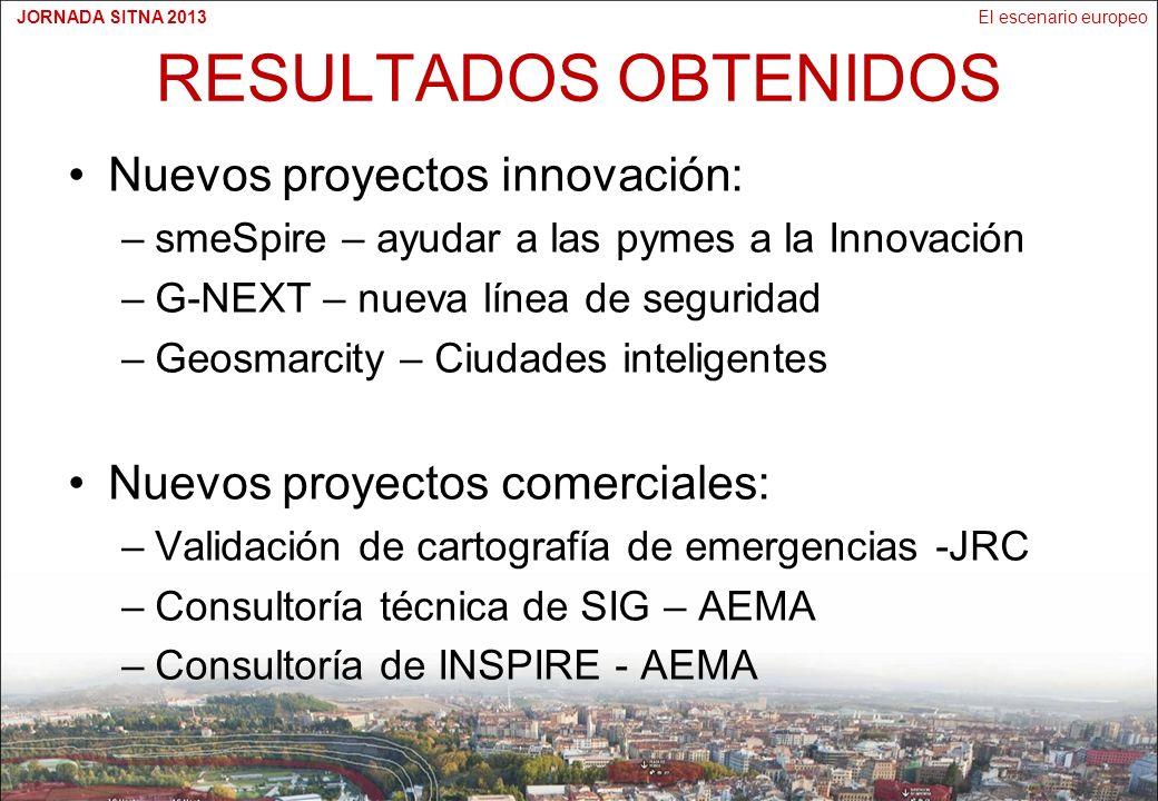 El escenario europeoJORNADA SITNA 2013 RESULTADOS OBTENIDOS Nuevos proyectos innovación: –smeSpire – ayudar a las pymes a la Innovación –G-NEXT – nueva línea de seguridad –Geosmarcity – Ciudades inteligentes Nuevos proyectos comerciales: –Validación de cartografía de emergencias -JRC –Consultoría técnica de SIG – AEMA –Consultoría de INSPIRE - AEMA