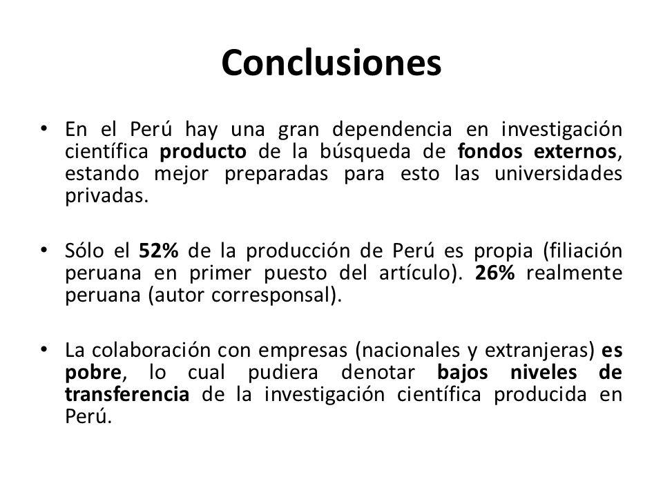 Conclusiones En el Perú hay una gran dependencia en investigación científica producto de la búsqueda de fondos externos, estando mejor preparadas para esto las universidades privadas.