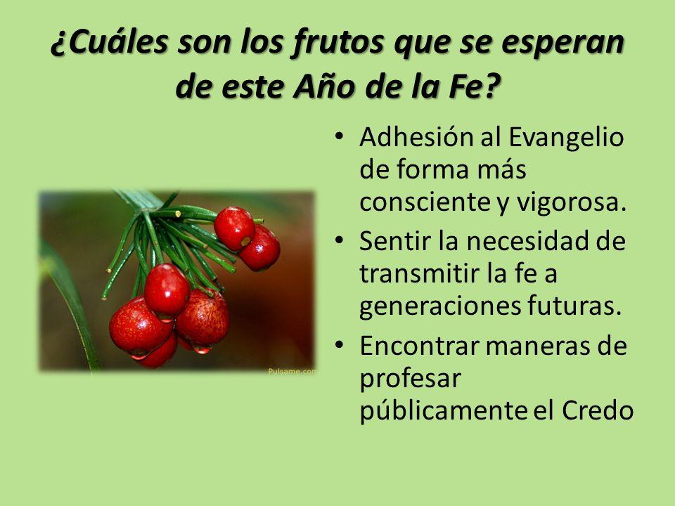 ¿Cuáles son los frutos que se esperan de este Año de la Fe? Adhesión al Evangelio de forma más consciente y vigorosa. Sentir la necesidad de transmiti