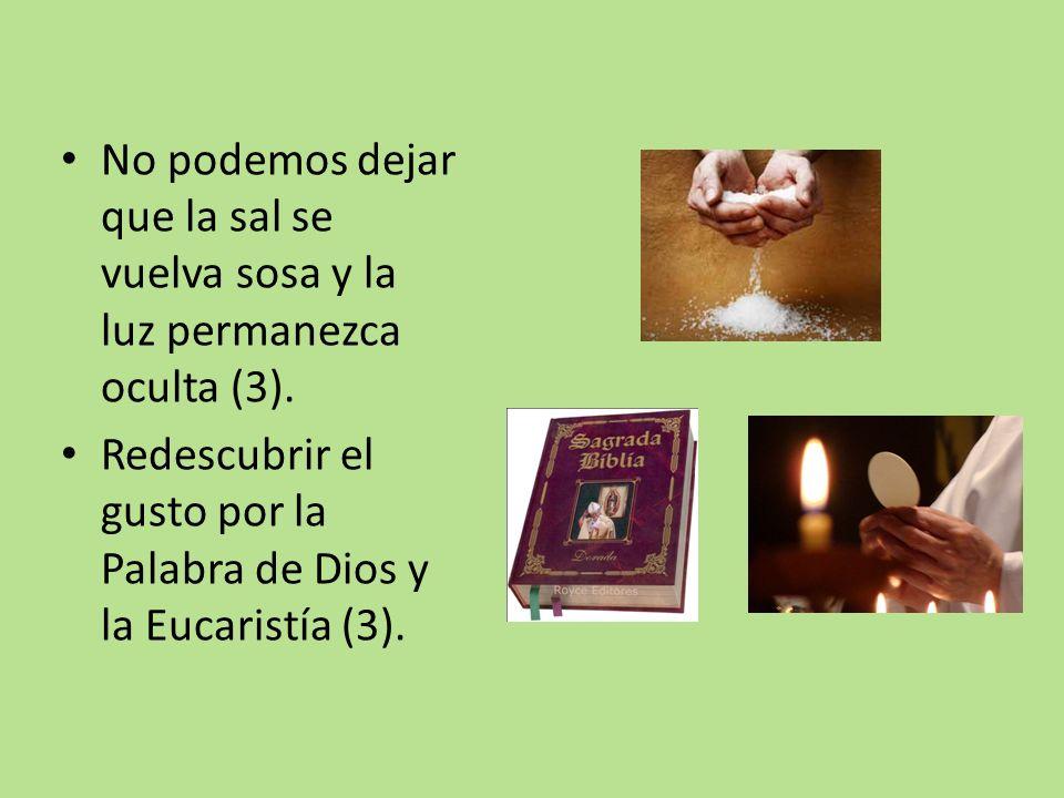 No podemos dejar que la sal se vuelva sosa y la luz permanezca oculta (3). Redescubrir el gusto por la Palabra de Dios y la Eucaristía (3).