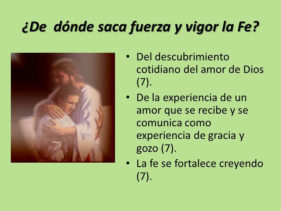 ¿De dónde saca fuerza y vigor la Fe? Del descubrimiento cotidiano del amor de Dios (7). De la experiencia de un amor que se recibe y se comunica como