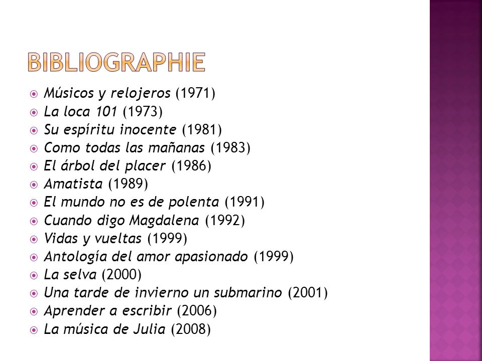 Músicos y relojeros (1971) La loca 101 (1973) Su espíritu inocente (1981) Como todas las mañanas (1983) El árbol del placer (1986) Amatista (1989) El mundo no es de polenta (1991) Cuando digo Magdalena (1992) Vidas y vueltas (1999) Antología del amor apasionado (1999) La selva (2000) Una tarde de invierno un submarino (2001) Aprender a escribir (2006) La música de Julia (2008)