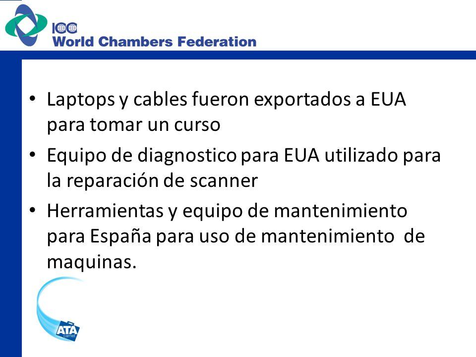 Laptops y cables fueron exportados a EUA para tomar un curso Equipo de diagnostico para EUA utilizado para la reparación de scanner Herramientas y equ
