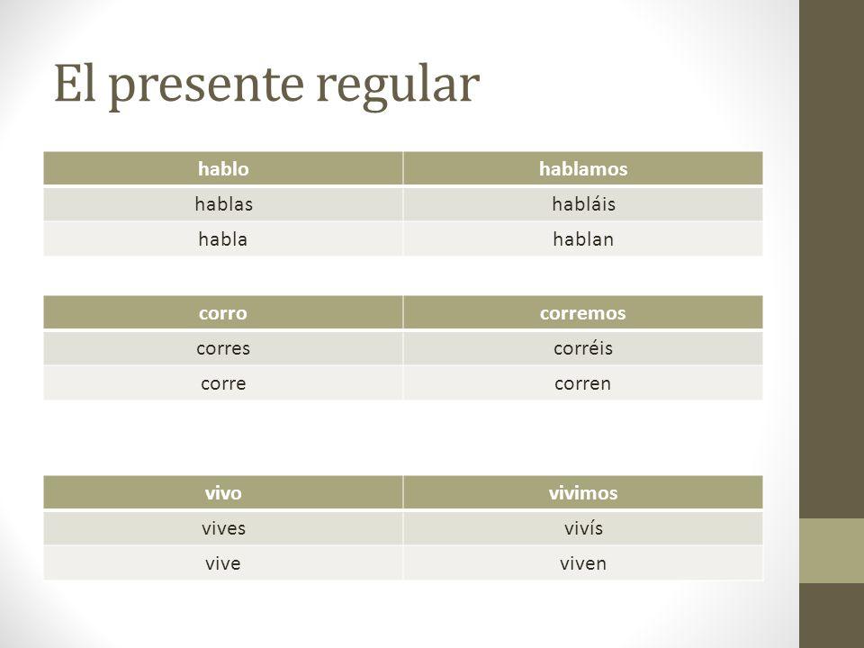 Verbos que cambian de raíz quieroqueremos quieresqueréis quierequieren Ciertos verbos tienen un cambio en su raíz (stem) en el presente.
