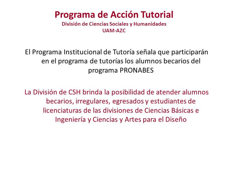 Programa de Acción Tutorial División de Ciencias Sociales y Humanidades UAM-AZC - Funcionamiento- Coordinación Divisional de Docencia Organiza, regula, registra asignaciones de tutores-tutorados y da seguimiento de la actividad tutorial a través de informes trimestrales.