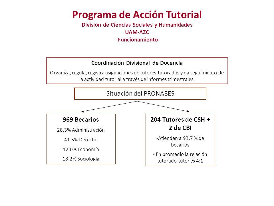 Programa de Acción Tutorial División de Ciencias Sociales y Humanidades UAM-AZC - Funcionamiento- - Atención personalizada por parte de un académico formado para tal fin - Se recomienda tener al menos 3 sesiones al trimestre ¿Cómo se da el seguimiento.