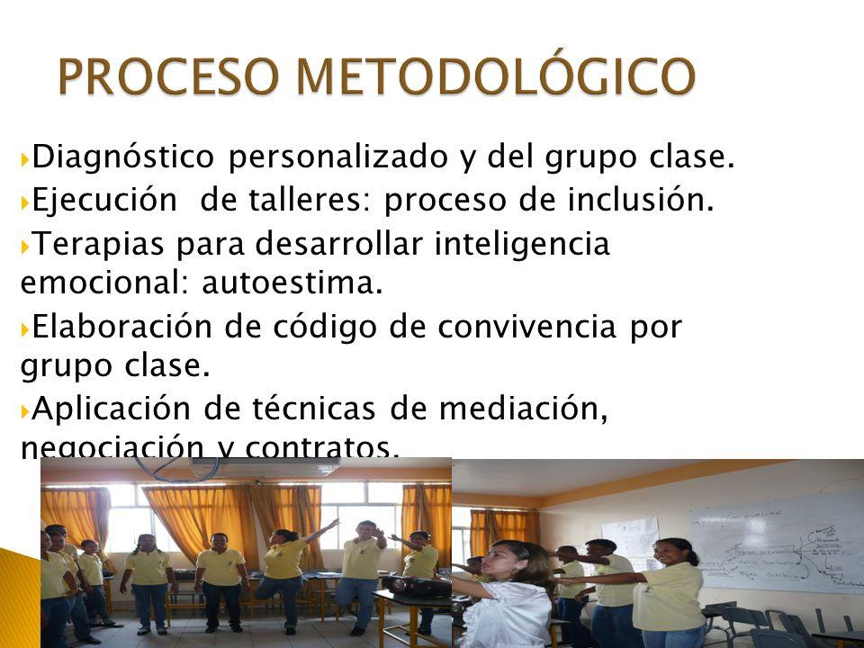 Diagnóstico personalizado y del grupo clase. Ejecución de talleres: proceso de inclusión. Terapias para desarrollar inteligencia emocional: autoestima