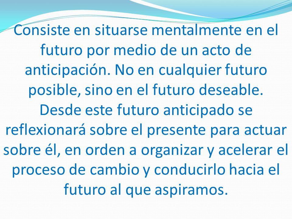 Consiste en situarse mentalmente en el futuro por medio de un acto de anticipación.