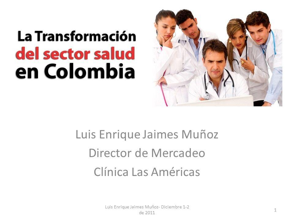 Favor poner el logo del Certamen. VI. Congreso Tenencias Salud Bogotá D.C Luis Enrique Jaimes Muñoz Director de Mercadeo Clínica Las Américas 1 Luis E