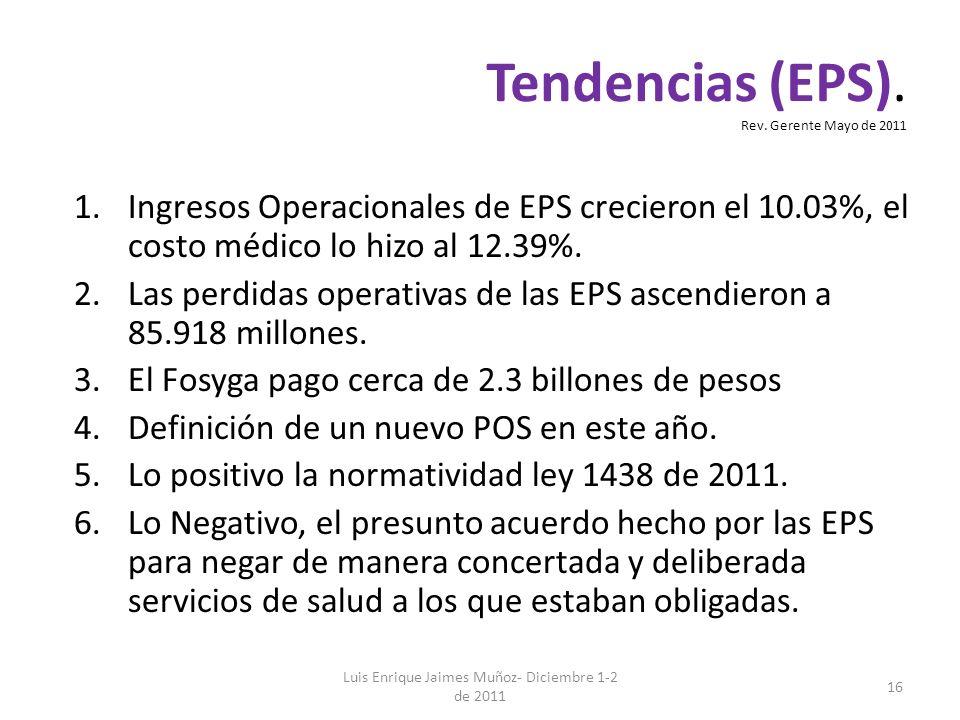 Luis Enrique Jaimes Muñoz- Diciembre 1-2 de 2011 16 1.Ingresos Operacionales de EPS crecieron el 10.03%, el costo médico lo hizo al 12.39%. 2.Las perd