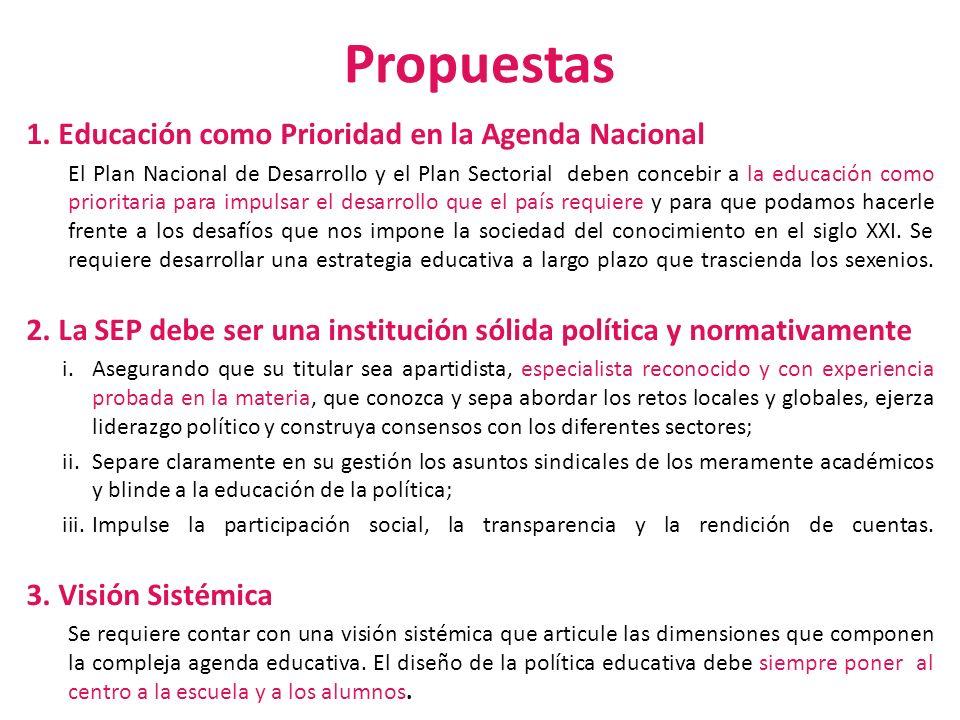 Propuestas 1. Educación como Prioridad en la Agenda Nacional El Plan Nacional de Desarrollo y el Plan Sectorial deben concebir a la educación como pri