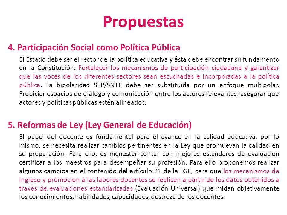 Propuestas 4. Participación Social como Política Pública El Estado debe ser el rector de la política educativa y ésta debe encontrar su fundamento en