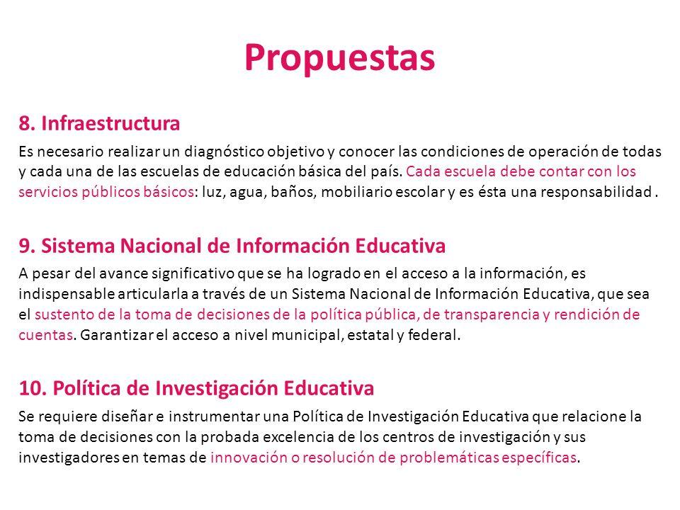 Propuestas 8. Infraestructura Es necesario realizar un diagnóstico objetivo y conocer las condiciones de operación de todas y cada una de las escuelas