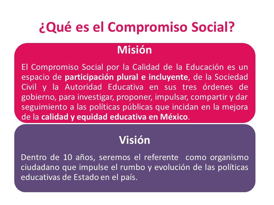 ¿Qué es el Compromiso Social? Misión El Compromiso Social por la Calidad de la Educación es un espacio de participación plural e incluyente, de la Soc