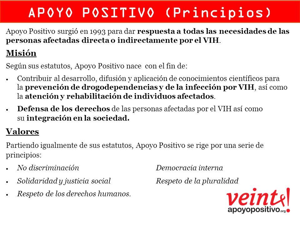 colectivo de atención Apoyo Positivo surgió en 1993 para dar respuesta a todas las necesidades de las personas afectadas directa o indirectamente por el VIH.
