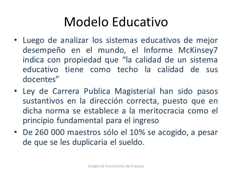 Modelo Educativo Luego de analizar los sistemas educativos de mejor desempeño en el mundo, el Informe McKinsey7 indica con propiedad que la calidad de