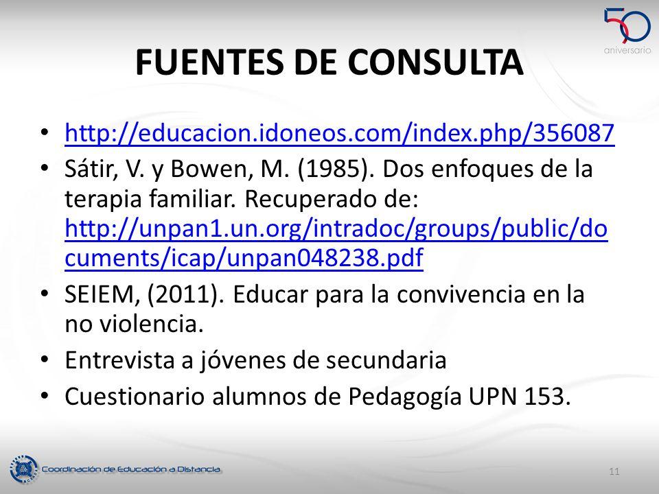 FUENTES DE CONSULTA http://educacion.idoneos.com/index.php/356087 Sátir, V. y Bowen, M. (1985). Dos enfoques de la terapia familiar. Recuperado de: ht