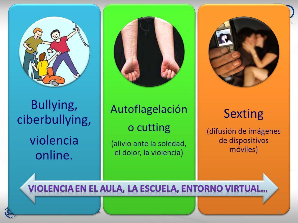 Bullying, ciberbullying, violencia online. Autoflagelación o cutting (alivio ante la soledad, el dolor, la violencia) Sexting (difusión de imágenes de