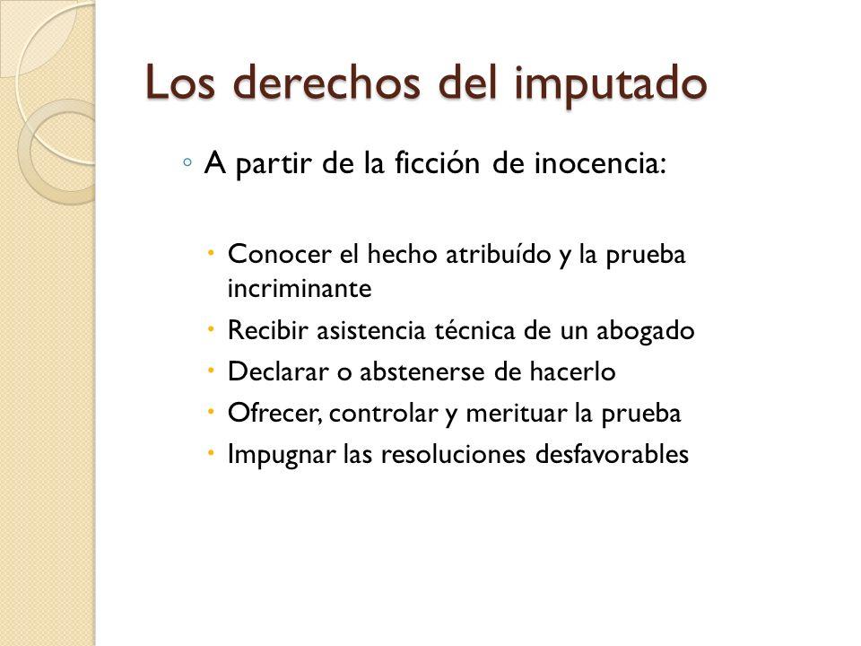 Los derechos del imputado A partir de la ficción de inocencia: Conocer el hecho atribuído y la prueba incriminante Recibir asistencia técnica de un ab