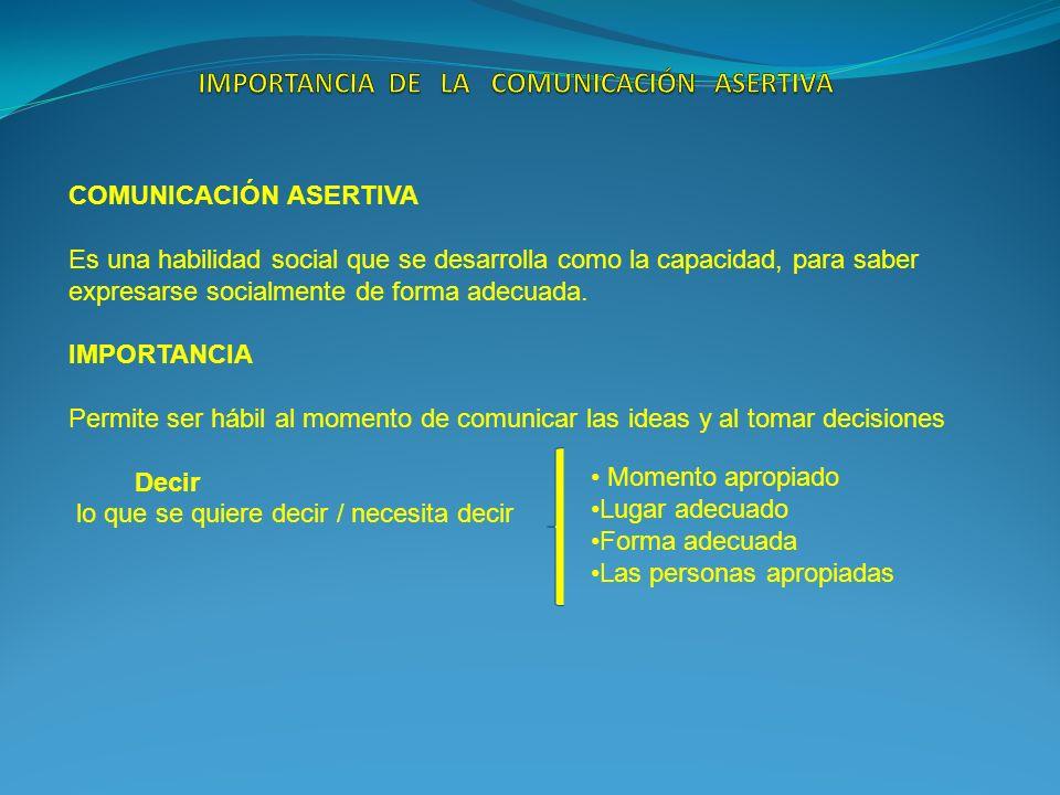 COMUNICACIÓN ASERTIVA Es una habilidad social que se desarrolla como la capacidad, para saber expresarse socialmente de forma adecuada. IMPORTANCIA Pe