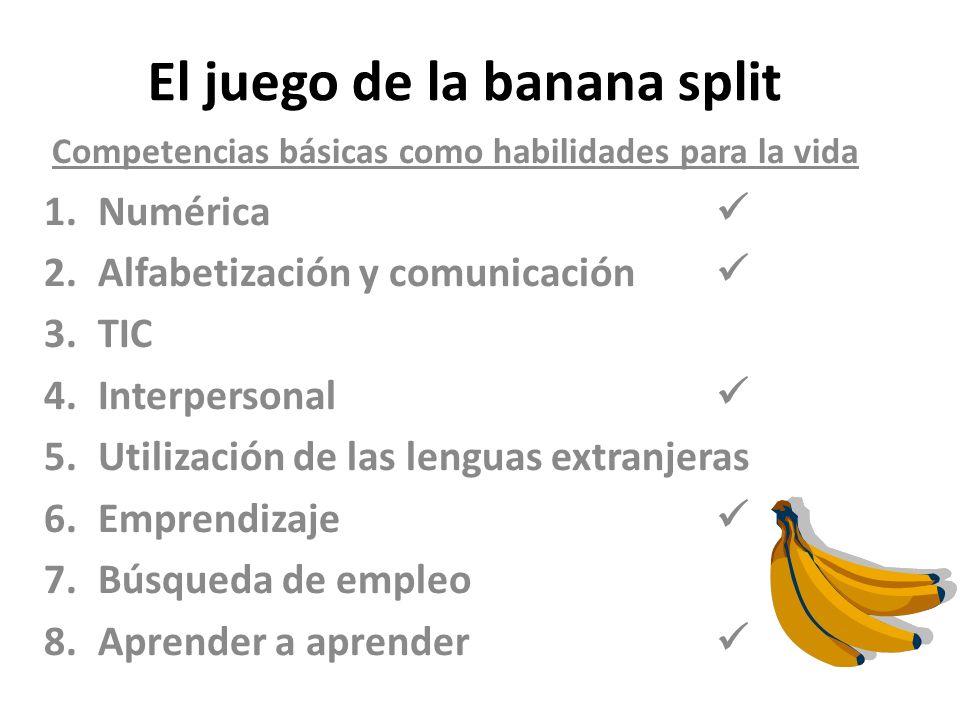 El juego de la banana split Competencias básicas como habilidades para la vida 1.Numérica 2.Alfabetización y comunicación 3.TIC 4.Interpersonal 5.Util