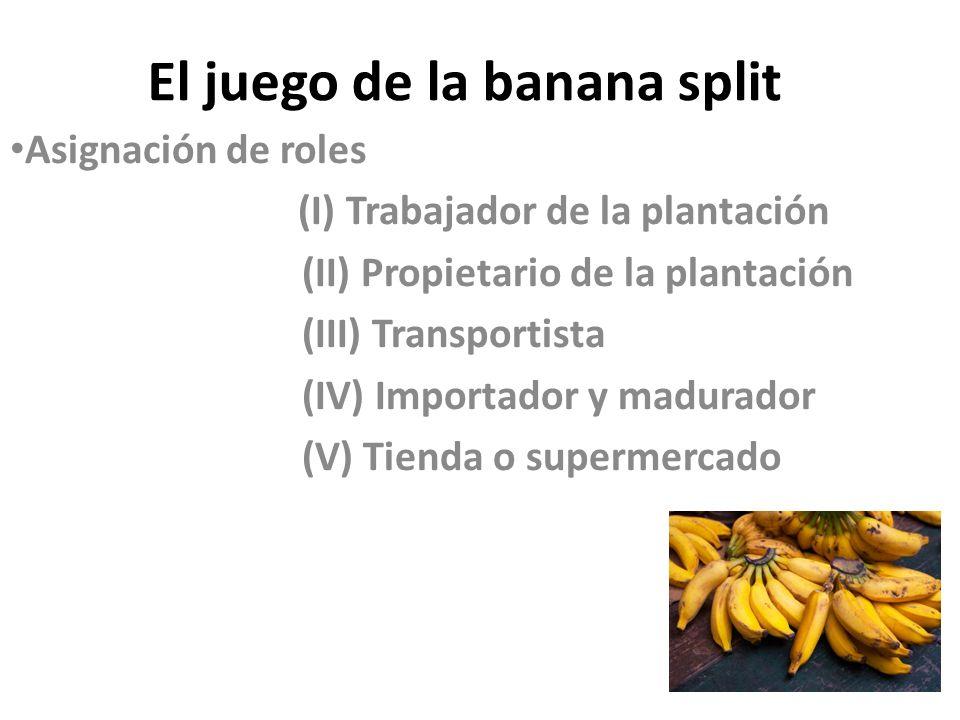 El juego de la banana split Asignación de roles (I) Trabajador de la plantación (II) Propietario de la plantación (III) Transportista (IV) Importador
