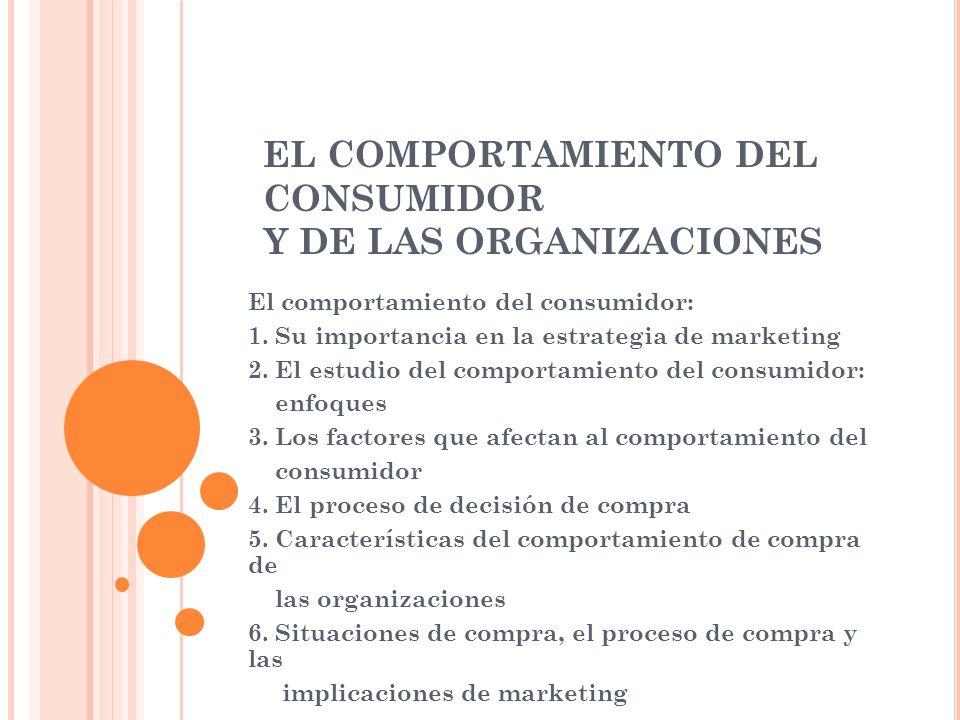 EL COMPORTAMIENTO DEL CONSUMIDOR Y DE LAS ORGANIZACIONES El comportamiento del consumidor: 1. Su importancia en la estrategia de marketing 2. El estud