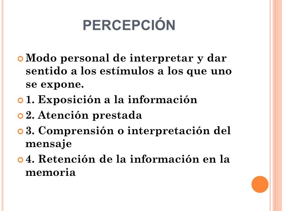 PERCEPCIÓN Modo personal de interpretar y dar sentido a los estímulos a los que uno se expone. 1. Exposición a la información 2. Atención prestada 3.