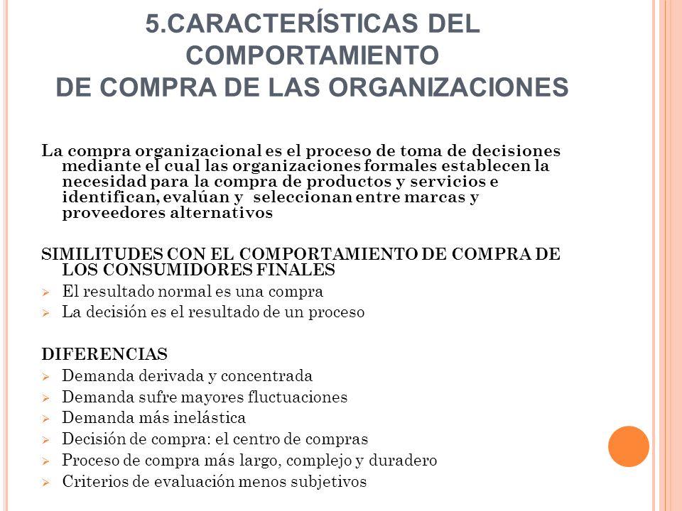 5.CARACTERÍSTICAS DEL COMPORTAMIENTO DE COMPRA DE LAS ORGANIZACIONES La compra organizacional es el proceso de toma de decisiones mediante el cual las