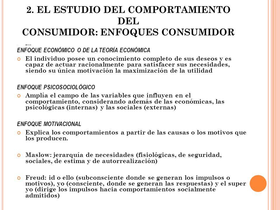 2. EL ESTUDIO DEL COMPORTAMIENTO DEL CONSUMIDOR: ENFOQUES CONSUMIDOR ECONÓMIC ENFOQUE ECONÓMICO O DE LA TEORÍA ECONÓMICA El individuo posee un conocim