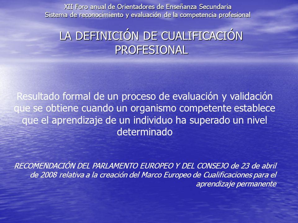 LA DEFINICIÓN DE CUALIFICACIÓN PROFESIONAL Resultado formal de un proceso de evaluación y validación que se obtiene cuando un organismo competente establece que el aprendizaje de un individuo ha superado un nivel determinado RECOMENDACIÓN DEL PARLAMENTO EUROPEO Y DEL CONSEJO de 23 de abril de 2008 relativa a la creación del Marco Europeo de Cualificaciones para el aprendizaje permanente XII Foro anual de Orientadores de Enseñanza Secundaria Sistema de reconocimiento y evaluación de la competencia profesional