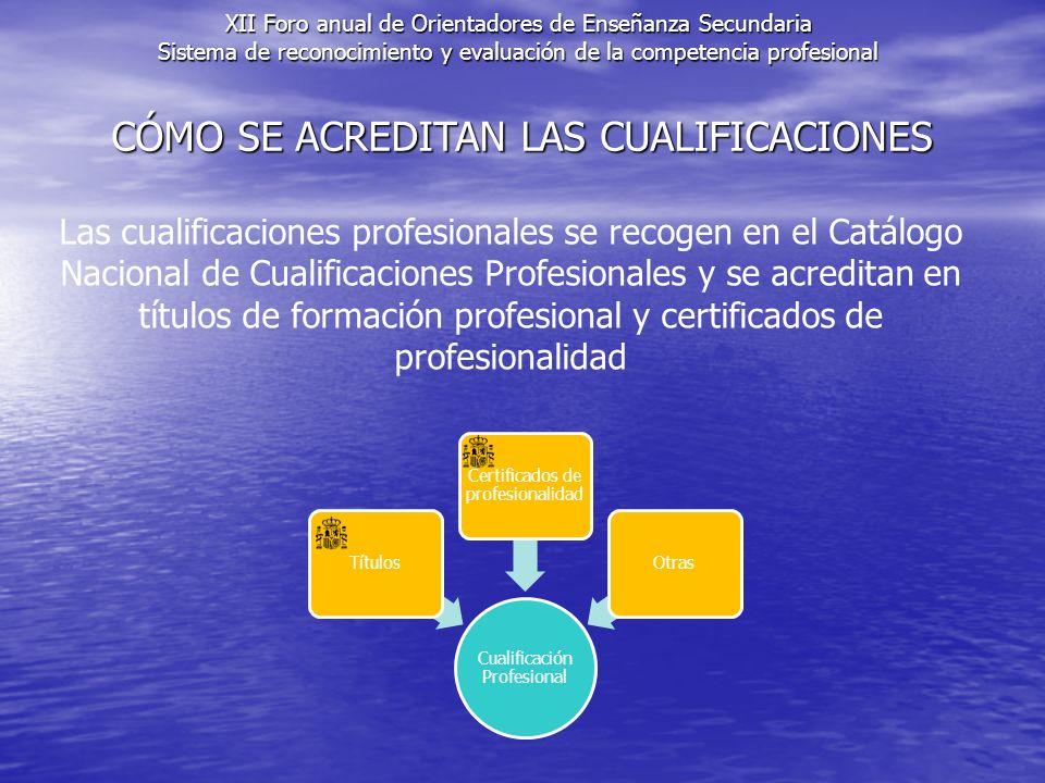 CÓMO SE ACREDITAN LAS CUALIFICACIONES Las cualificaciones profesionales se recogen en el Catálogo Nacional de Cualificaciones Profesionales y se acreditan en títulos de formación profesional y certificados de profesionalidad XII Foro anual de Orientadores de Enseñanza Secundaria Sistema de reconocimiento y evaluación de la competencia profesional Cualificación Profesional Títulos Certificados de profesionalidad Otras