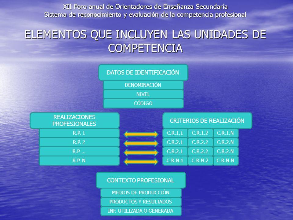 ELEMENTOS QUE INCLUYEN LAS UNIDADES DE COMPETENCIA DATOS DE IDENTIFICACIÓN DENOMINACIÓN NIVEL CÓDIGO REALIZACIONES PROFESIONALES CRITERIOS DE REALIZACIÓN R.P.