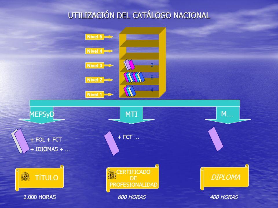 UTILIZACIÓN DEL CATÁLOGO NACIONAL Nivel 5 Nivel 4 Nivel 3 Nivel 2 Nivel 1 3 9 4 MEPSyD + FOL + FCT + IDIOMAS + … + FCT … DIPLOMA CERTIFICADO DE PROFES