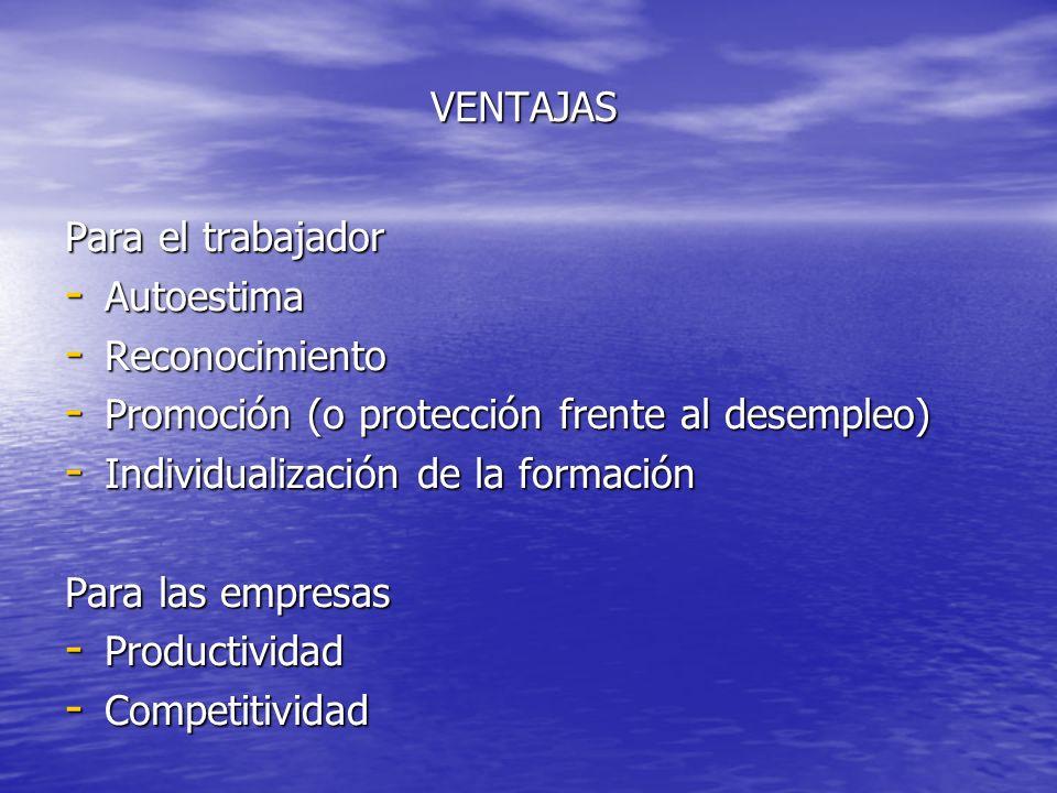 VENTAJAS Para el trabajador - Autoestima - Reconocimiento - Promoción (o protección frente al desempleo) - Individualización de la formación Para las empresas - Productividad - Competitividad