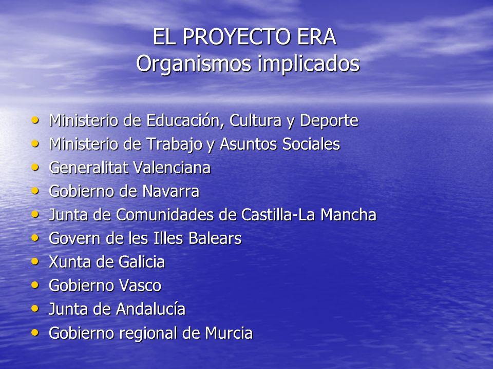 EL PROYECTO ERA Organismos implicados Ministerio de Educación, Cultura y Deporte Ministerio de Educación, Cultura y Deporte Ministerio de Trabajo y As