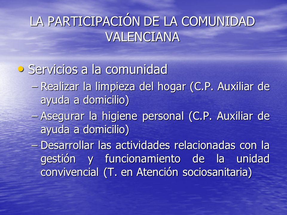 LA PARTICIPACIÓN DE LA COMUNIDAD VALENCIANA Servicios a la comunidad Servicios a la comunidad –Realizar la limpieza del hogar (C.P. Auxiliar de ayuda