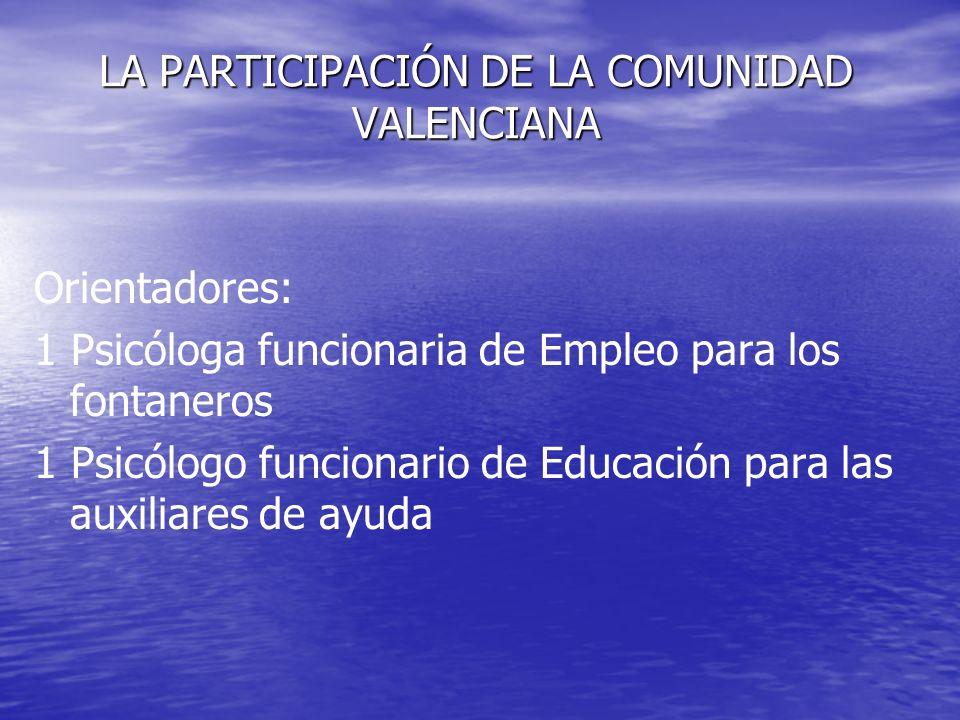LA PARTICIPACIÓN DE LA COMUNIDAD VALENCIANA Orientadores: 1 Psicóloga funcionaria de Empleo para los fontaneros 1 Psicólogo funcionario de Educación p