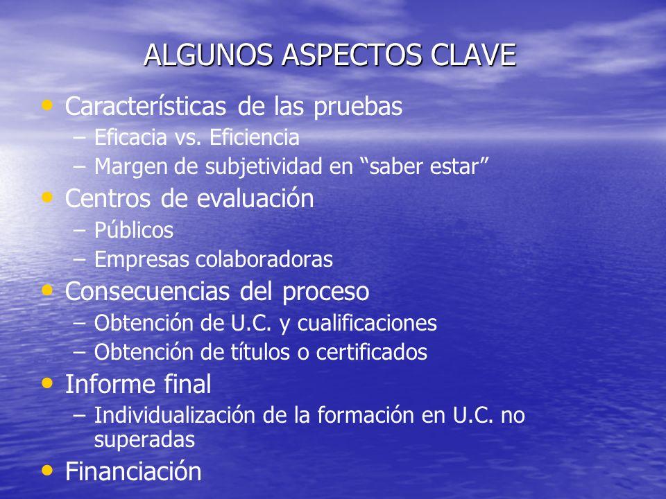 ALGUNOS ASPECTOS CLAVE Características de las pruebas – –Eficacia vs.