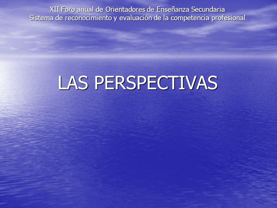 XII Foro anual de Orientadores de Enseñanza Secundaria Sistema de reconocimiento y evaluación de la competencia profesional LAS PERSPECTIVAS