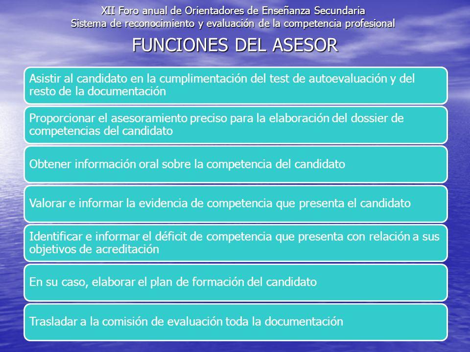 FUNCIONES DEL ASESOR Asistir al candidato en la cumplimentación del test de autoevaluación y del resto de la documentación Proporcionar el asesoramien