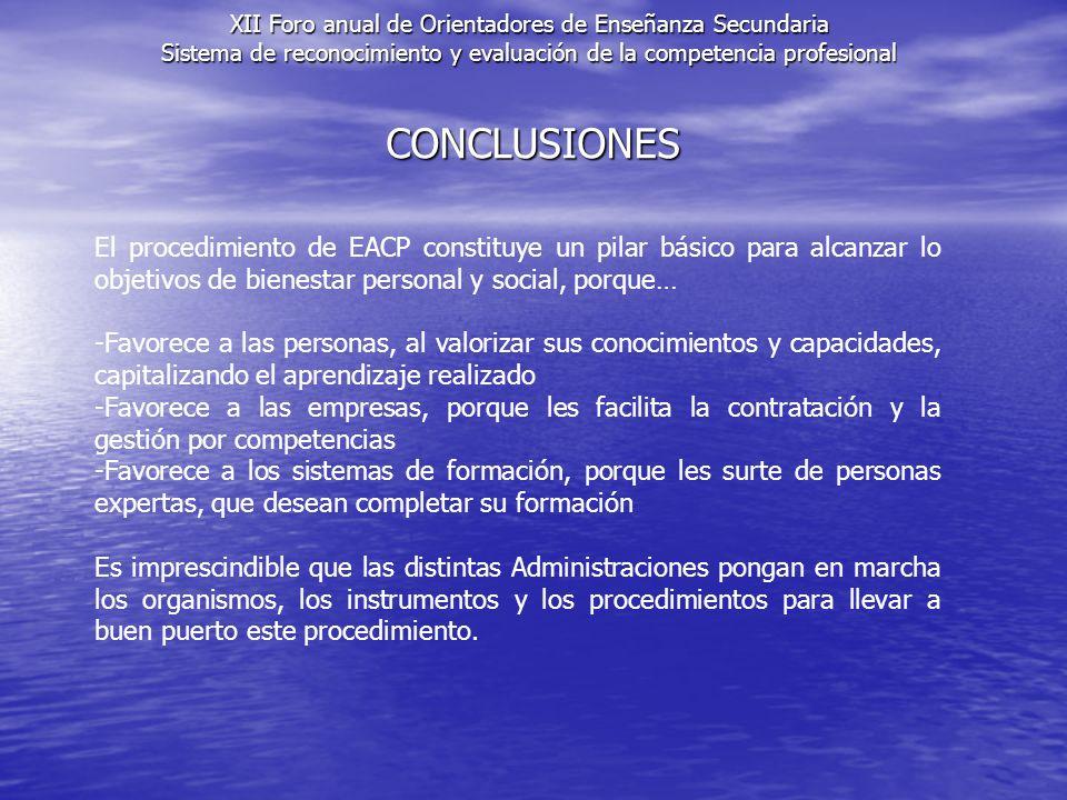 CONCLUSIONES XII Foro anual de Orientadores de Enseñanza Secundaria Sistema de reconocimiento y evaluación de la competencia profesional El procedimie