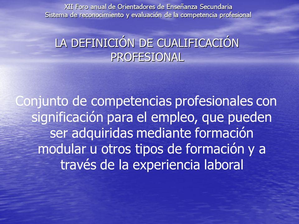 LA DEFINICIÓN DE CUALIFICACIÓN PROFESIONAL Conjunto de competencias profesionales con significación para el empleo, que pueden ser adquiridas mediante