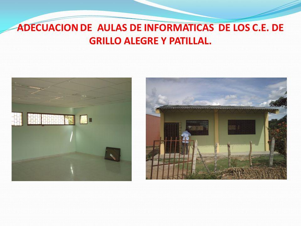 ADECUACION DE AULAS DE INFORMATICAS DE LOS C.E. DE GRILLO ALEGRE Y PATILLAL.