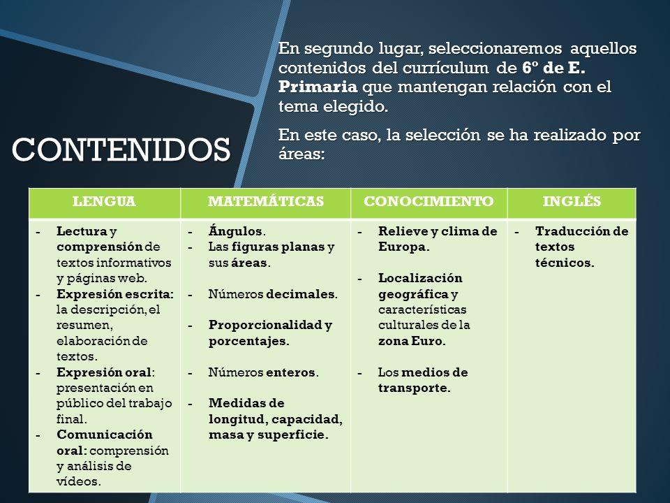 CONTENIDOS En segundo lugar, seleccionaremos aquellos contenidos del currículum de 6º de E. Primaria que mantengan relación con el tema elegido. En es