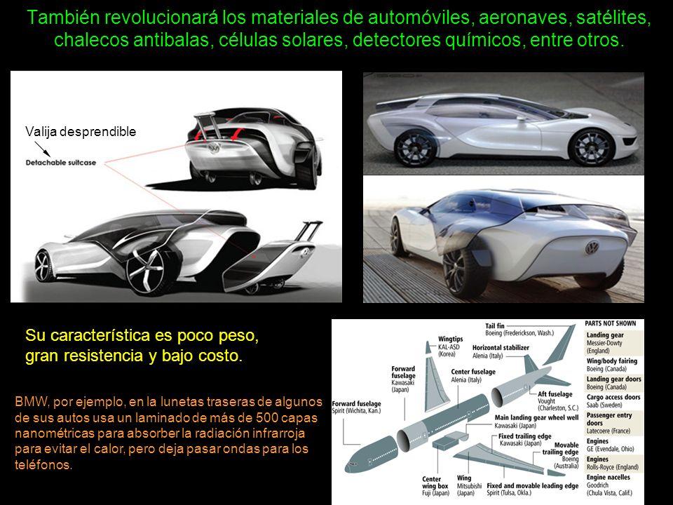 También revolucionará los materiales de automóviles, aeronaves, satélites, chalecos antibalas, células solares, detectores químicos, entre otros. Su c