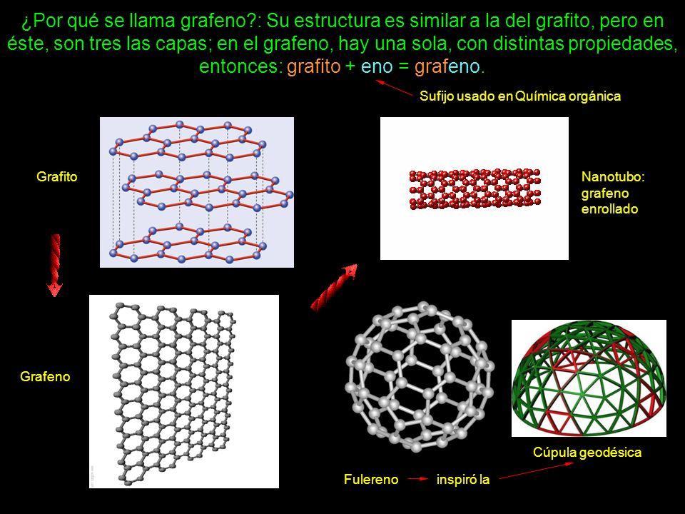 ¿Por qué se llama grafeno?: Su estructura es similar a la del grafito, pero en éste, son tres las capas; en el grafeno, hay una sola, con distintas pr